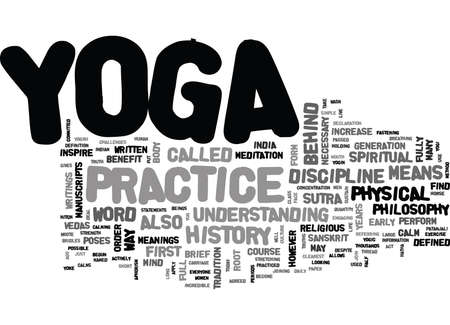 YOGA HISTORY TEXT WORD CLOUD CONCEPT