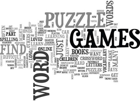 searches: WORD PUZZLE GAMES TEXT WORD CLOUD CONCEPT Illustration