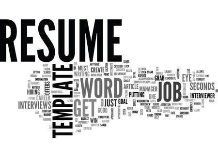 WORD RESUME TEMPLATE GET NOTICED IN SECONDS TEXT WORD CLOUD CONCEPT