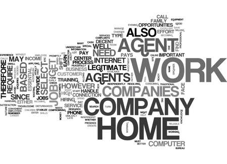 WORK AT HOME AGENTS TEXT WORD CLOUD CONCEPT