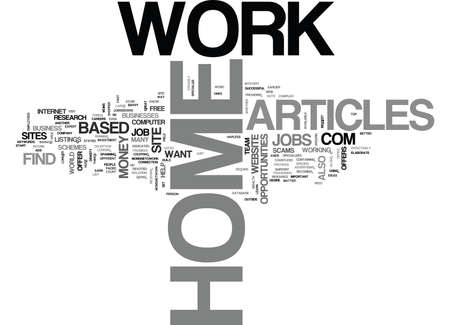 listings: WORK AT HOME ARTICLES TEXT WORD CLOUD CONCEPT Illustration