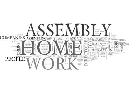 WORK AT HOME ASSEMBLY TEXT WORD CLOUD CONCEPT Ilustrace