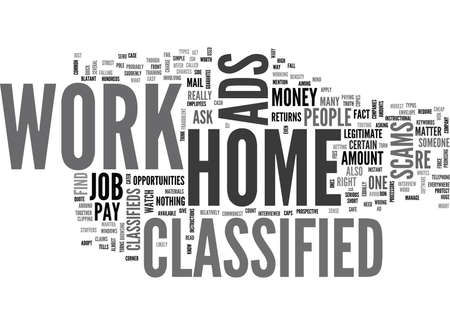 WORK AT HOME CLASSIFIED TEXT WORD CLOUD CONCEPT