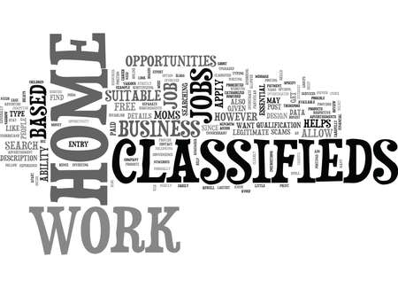 WORK AT HOME CLASSIFIEDS TEXT WORD CLOUD CONCEPT Illustration