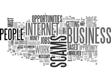 WORK AT HOME EMPLOYMENT SCAMS TEXT WORD CLOUD CONCEPT