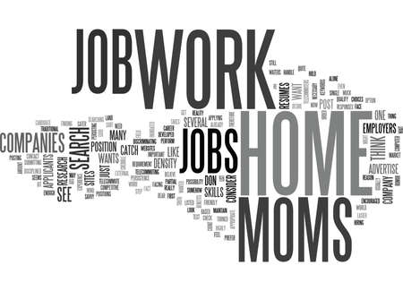 WORK AT HOME JOBS FOR MOMS TEXT WORD CLOUD CONCEPT