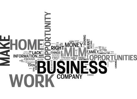 made to order: WORK AT HOME MLM BUSINESS OPPORTUNITY TEXT WORD CLOUD CONCEPT