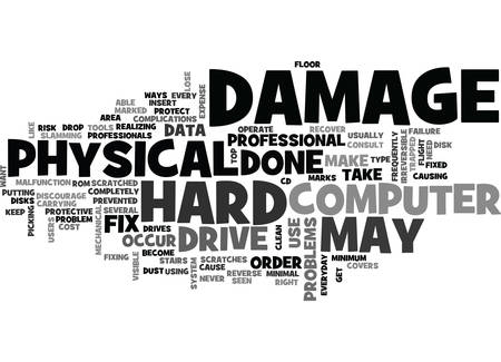 occur: WHAT PHYSICAL DAMAGE CAN DO TO YOUR DATA TEXT WORD CLOUD CONCEPT