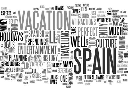 WHAT S BETTER THAN A HOLIDAY IN SPAIN TEXT WORD CLOUD CONCEPT Ilustração