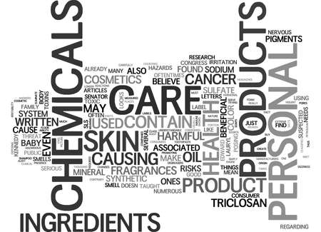 suspected: WHAT S IN YOUR PERSONAL CARE ITEMS TEXT WORD CLOUD CONCEPT Illustration