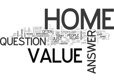 WHAT S THE VALUE OF MY HOME TEXT WORD CLOUD CONCEPT Stock Vector - 79617634