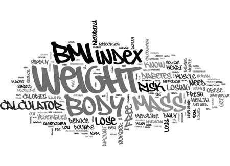 당신의 신체 질량 지수 텍스트 단어 크라우드 개념