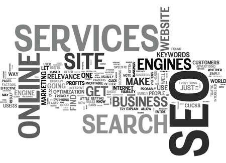 WHAT SEO SERVICES CAN DO FOR YOUR ONLINE BUSINESS TEXT WORD CLOUD CONCEPT Çizim