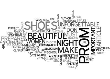 WHAT SHOES SHOULD YOU WEAR FOR UNFORGETTABLE PROM NIGHT TEXT WORD CLOUD CONCEPT Çizim