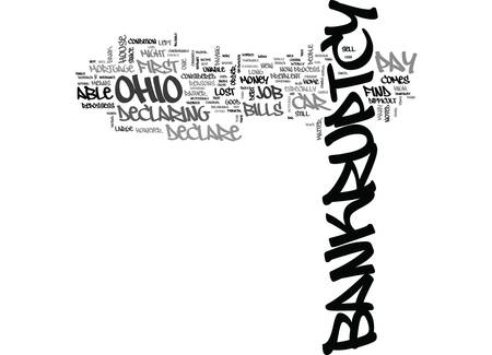 WHAT TO DO IF YOU HAVE TO DECLARE BANKRUPTCY IN OHIO TEXT WORD CLOUD CONCEPT Иллюстрация