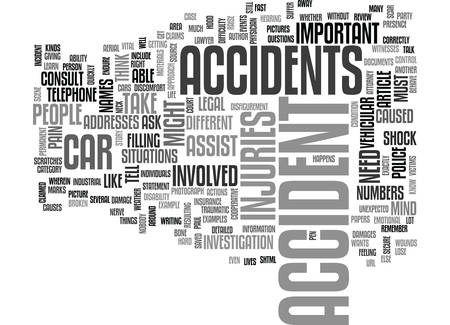 WHAT TO DO WHEN YOU GET INTO AN ACCIDENT TEXT WORD CLOUD CONCEPT
