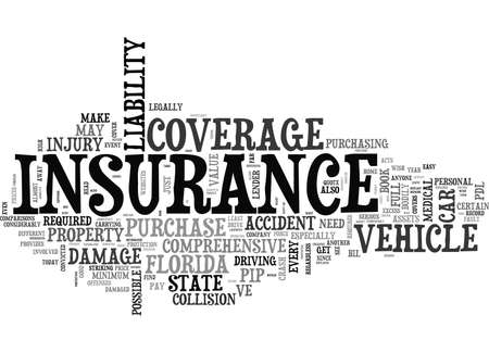 WHAT TO LOOK FOR IN A FULL COVERAGE CAR INSURANCE QUOTE IN FLORIDA TEXT WORD CLOUD CONCEPT Illustration
