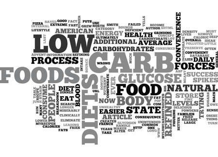 figuring: WHO EVER SAID LOW CARB DIETS MEANT NO CARB TEXT WORD CLOUD CONCEPT Illustration