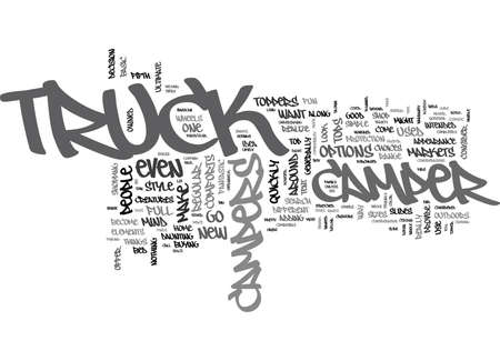 WHAT TO LOOK FOR IN TRUCK CAMPERS TEXT WORD CLOUD CONCEPT Ilustração