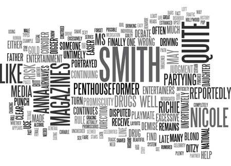 WHAT WE SHOULD LEARN FROM ANNA NICOLE SMITH TEXT WORD CLOUD CONCEPT
