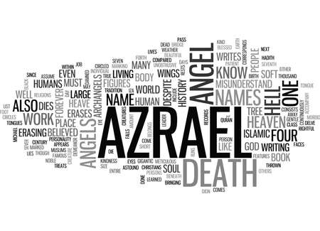 WHO IS AZRAEL THE ANGEL OF DEATH TEXT WORD CLOUD CONCEPT