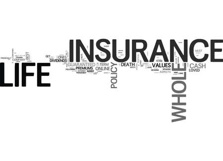 WHOLE LIFE INSURANCE TIPS TEXT WORD CLOUD CONCEPT