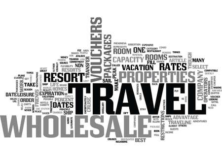 WHOLESALE TRAVEL GETS YOU THERE CHEAPER TEXT WORD CLOUD CONCEPT Çizim