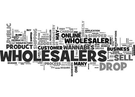 WHOLESALERS VS WANNABES AND DROP SHIPPERS TEXT WORD CLOUD CONCEPT Çizim