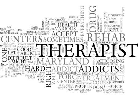centers: WHERE TO FIND MARYLAND DRUG REHAB CENTERS TEXT WORD CLOUD CONCEPT Illustration