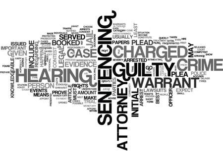 WHAT TO EXPECT IF YOU ARE CHARGED WITH A CRIME TEXT WORD CLOUD CONCEPT Ilustração