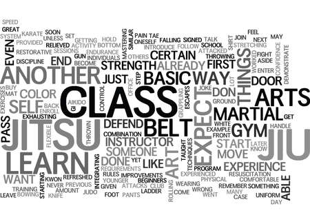 kwon: WHAT TO EXPECT IN JIU JITSU TEXT WORD CLOUD CONCEPT Illustration