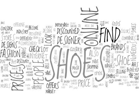 WHERE TO FIND SHOES SOLD AT A DISCOUNT TEXT WORD CLOUD CONCEPT Ilustração