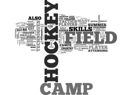 WHAT TO KNOW ABOUT FIELD HOCKEY CAMP TEXT WORD CLOUD CONCEPT