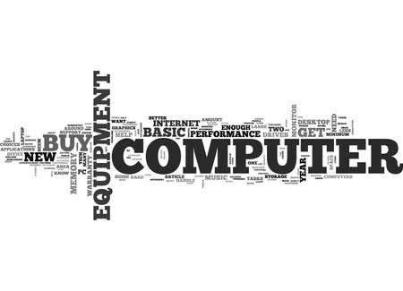 WHAT TO KNOW BEFORE YOU BUY COMPUTER EQUIPMENT TEXT WORD CLOUD CONCEPT Ilustração