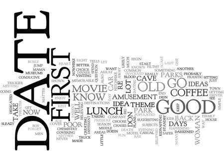suggesting: WHERE TO GO ON YOUR FIRST DATE TEXT WORD CLOUD CONCEPT