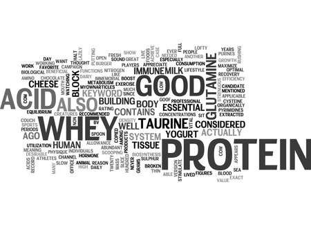 goof: WHEY PROTEIN IS GOOD FOR YOU TEXT WORD CLOUD CONCEPT Illustration