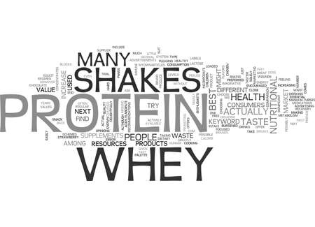 WHEY PROTEIN SHAKES TEXT WORD CLOUD CONCEPT