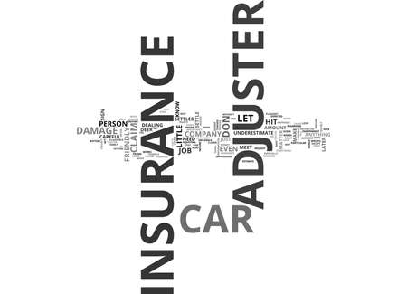 WHAT YOU NEED TO KNOW ABOUT A CAR INSURANCE ADJUSTER TEXT WORD CLOUD CONCEPT 向量圖像