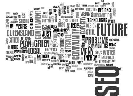 WHICH FUTURE FOR SOUTH EAST QUEENSLAND TEXT WORD CLOUD CONCEPT