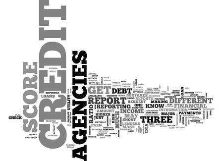 WHAT YOU NEED TO KNOW ABOUT CREDIT SCORE AGENCIES TEXT WORD CLOUD CONCEPT