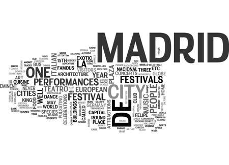 conveniently: WHAT YOU NEED TO KNOW ABOUT MADRID TRAVEL TEXT WORD CLOUD CONCEPT Illustration