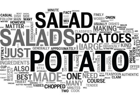 WHAT YOU NEED TO KNOW ABOUT POTATO SALADS TEXT WORD CLOUD CONCEPT Vectores