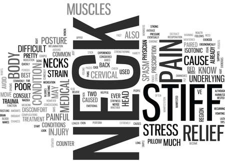 WHAT YOU NEED TO KNOW ABOUT STIFF NECKS TEXT WORD CLOUD CONCEPT Illustration