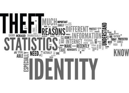 WHAT YOU NEED TO KNOW ABOUT THE STATISTICS ON IDENTITY THEFT TEXT WORD CLOUD CONCEPT Иллюстрация