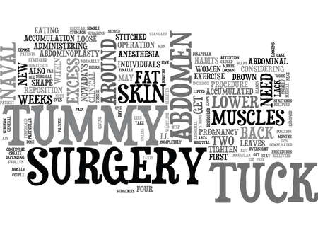 WHAT YOU NEED TO KNOW ABOUT TUMMY TUCK SURGERY TEXT WORD CLOUD CONCEPT Illustration