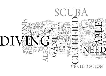 WHAT YOU NEED TO KNOW IF YOU WANT TO BE A CERTIFIED DIVER TEXT WORD CLOUD CONCEPT