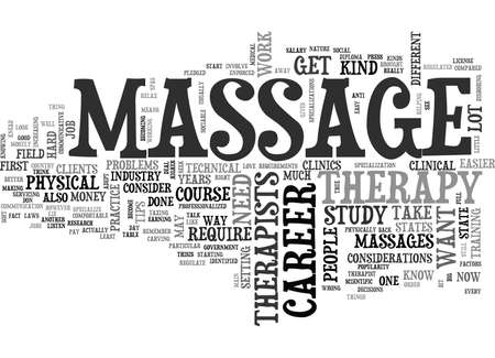 WHAT YOU NEED TO KNOW TO GET INTO MASSAGE THERAPY TEXT WORD CLOUD CONCEPT