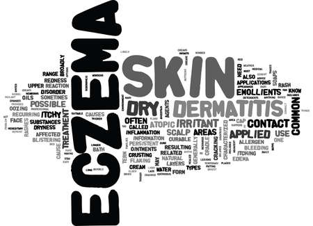 itchy: WHAT YOU SHOULD KNOW ABOUT ECZEMA TEXT WORD CLOUD CONCEPT Illustration