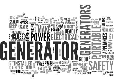 WHAT YOU SHOULD KNOW ABOUT PORTABLE GENERATOR SAFETY TEXT WORD CLOUD CONCEPT