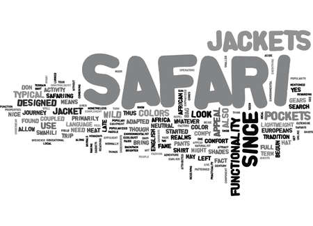 WHAT YOU SHOULD KNOW ABOUT SAFARI JACKETS TEXT WORD CLOUD CONCEPT Ilustrace